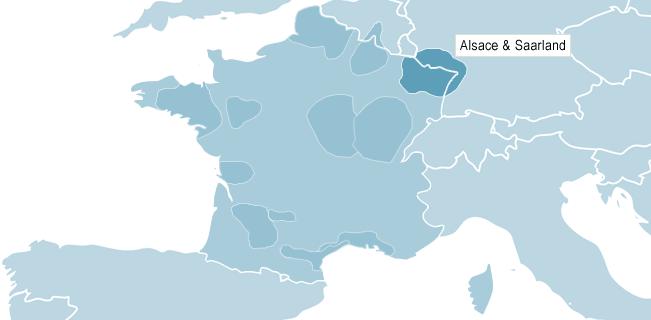 Kort over Alsace