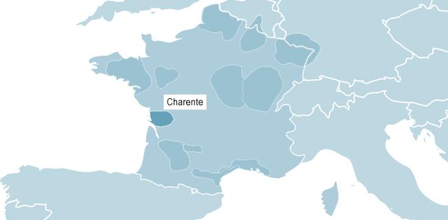 Kort over Cognac