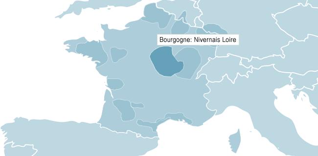 Kort over Bourgogne Nivernais Loire
