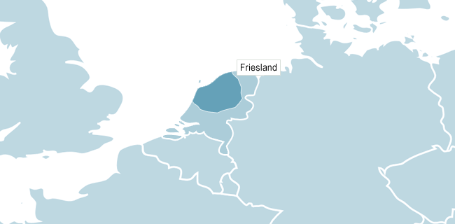 Kort over Friesland