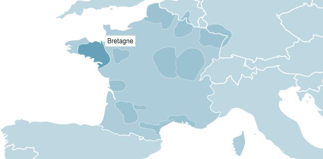 Kort over Bretagne