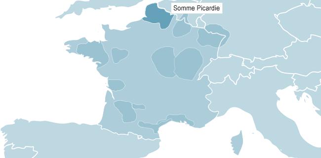 Kort over Somme Picardie