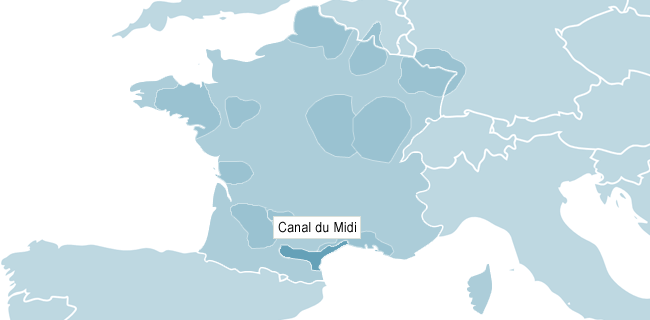 Kort over Canal du Midi